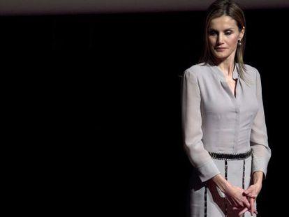 Dona Letizia, na entrega dos Prêmios Nacionais da Moda.