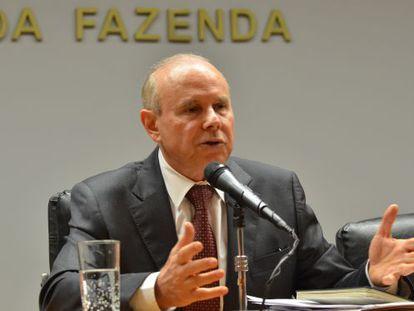 O ministro Guido Mantega em coletiva no início do ano.