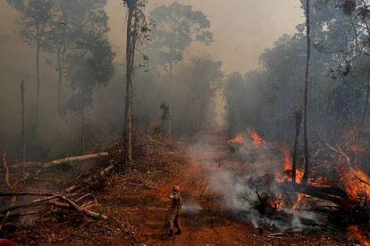 Incêndio na floresta na cidade União do Sul, em Mato Grosso, no dia 4 de setembro.