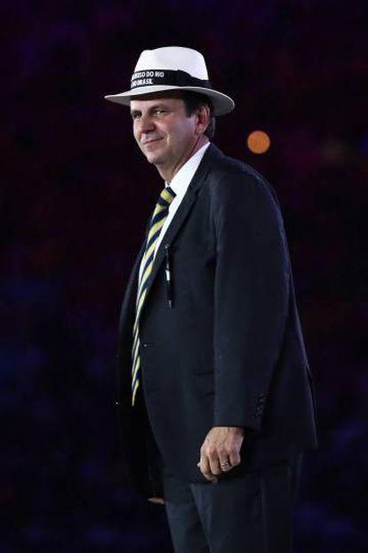 O prefeito do Rio, Eduardo Paes, durante a cerimônia de encerramento da Olimpíada no domingo.