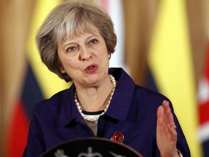 A primeira-ministra britânica, Theresa May, na quarta-feira em Londres.