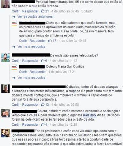 """Comentários do vídeo reproduzido na página """"Direita Paulistana"""""""