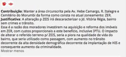 Uma das mensagens de moradores deixada no site da Prefeitura.