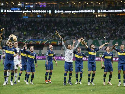 Jogadores do Boca festejam a passagem para a final da Libertadores na vitória contra o Palmeiras, no Allianz Parque.
