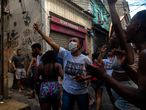 View of the scene where an alleged drug trafficker was reportedly killed by civil police in Jacarezinho favela, Rio de Janeiro, Brazil on May 6, 2021. - A massive police operation against drug traffickers in a Brazilian favela Thursday left 25 people dead, turning the impoverished Rio de Janeiro neighborhood into a battlefield and drawing condemnation from rights groups. (Photo by MAURO PIMENTEL / AFP)