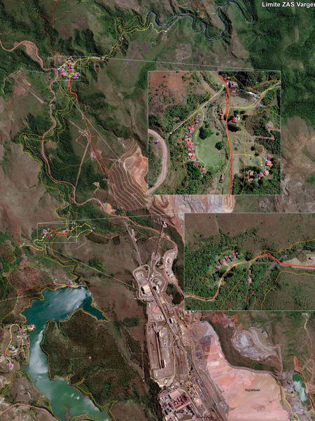 Áreas na zona de autossalvamento da barragem de Vargem Grande, em Nova Lima