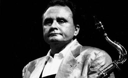 O saxofonista norte-americano Stan Getz em San Sebastián, em 1987