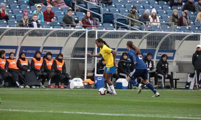 A jogadora Formiga, maior veterana das Copas do Mundo, durante uma partida no Japão pela seleção brasileira, em março.