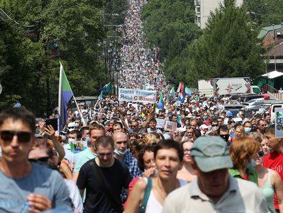 Protesto em apoio ao governador do 'krai' (região) de Khabarovsk, Serguei Furgal, neste sábado na cidade de Khabarovsk.