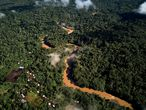 Vista aérea de la comunidad de Copataza, el próximo punto que será alcanzado por la nueva carretera. En muchos rincones de la Amazonia, los efectos de abrir una vía de comunicación por carretera son devastadores. Basta observar fotografías satelitales para ver cómo, en cuanto se abre una que penetra el bosque, inmediatamente se abren vías secundarias para extraer madera. Las más valiosas primero, y luego todas la demás.