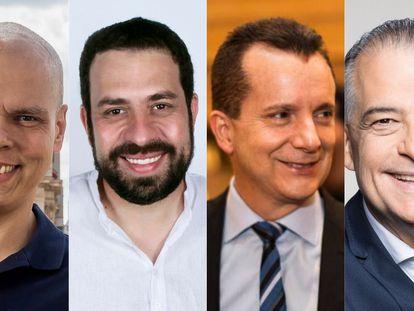 Bruno Covas, Guilherme Boulos, Celso Russomano e Márcio França, os líderes da corrida eleitoral em São Paulo.