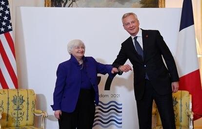 A secretária do Tesouro dos EUA, Janet Yellen, e o ministro da Economia da França, Bruno Le Maire, na reunião do G7.