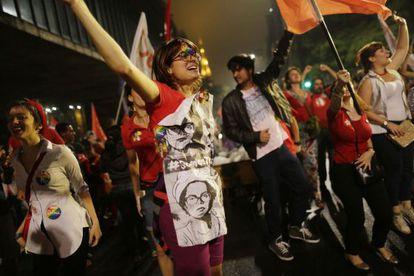 Apoiadores de Dilma Rousseff na Avenida Paulista.