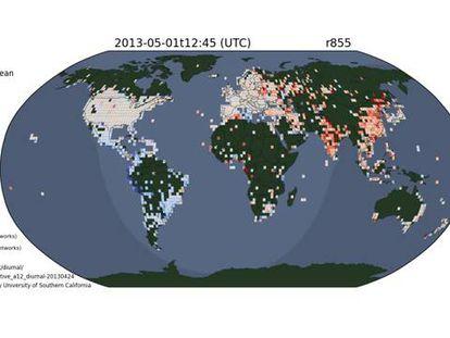 Quando o dia avança, os IPs desconectados (em azul) se ativam (em vermelho). As zonas em branco correspondem a IPs sempre conectados.