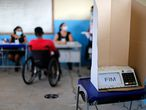 View of voting machine at a polling station in Igarape Miri, Para state, Brazil on November 15, 2020, during the first round of municipal elections amid the new coronavirus pandemic. - Brazilians voted Sunday in municipal elections that will test the strength of the country's rightward shift under President Jair Bolsonaro, with the coronavirus pandemic looming large -- and likely denting turnout. (Photo by TARSO SARRAF / AFP)