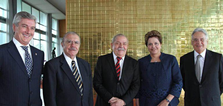 Os últimos cinco presidentes brasileiros vivos, todos citados nas delações da Odebrecht.