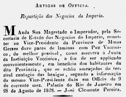 Ato do governo de 1828: varíola foi alvo de política pública desde o início do século 19.