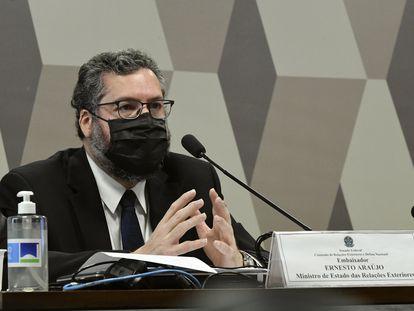 Chanceler Ernesto Araújo em pronunciamento no Senado.