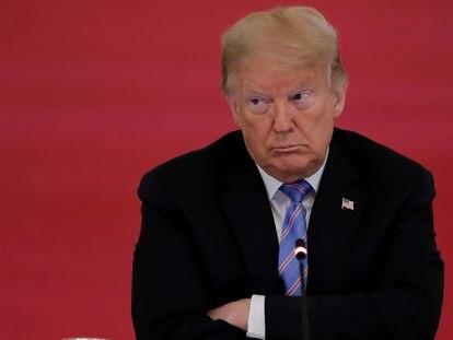 O presidente dos EUA, Donald Trump, durante reunião com seus assessores para a covid-19, em 26 de junho.