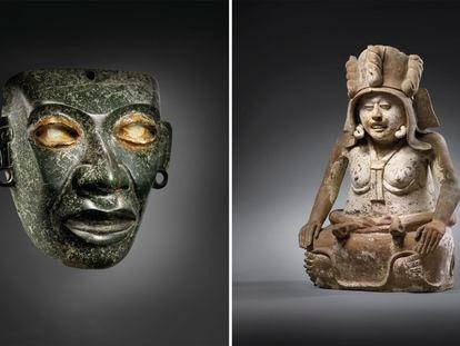 A máscara teotihuacana (à esquerda) e a estátua da deusa Cihuatéotl.