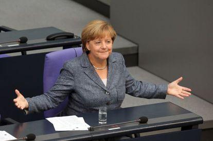 Angela Merkel na votação desta quarta-feira no Bundestag.