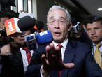 Álvaro Uribe llega a la Corte Suprema, este martes.