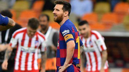 Messi lamenta a derrota contra o Atlético.