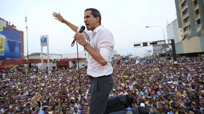 Juan Guaidó, no sábado, em um ato com simpatizantes em Maracaibo