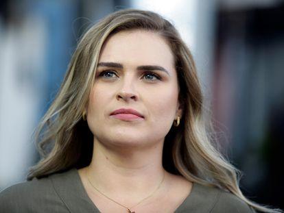 A candidata Marilia Arraes, que disputará o segundo turno com o primo João Campos.