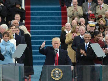 O presidente dos EUA, Donald Trump, durante a cerimônia de posse nesta sexta-feira, em Washington.
