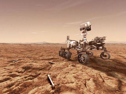 O rover 'Perseverance' e as cápsulas de amostras. No vídeo, os sete minutos de terror da nave.
