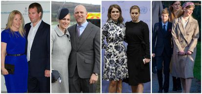 Da esquerda para a direita, Autumn e Peter Philips, Zara e Mark Tindall, Beatrice e Eugenie de York e James e lady Louise Windsor.