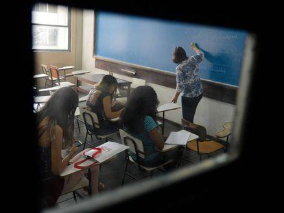 Sala de aula na UFRJ em 2017.