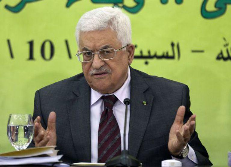O presidente palestino Mahmoud Abbas, no domingo.