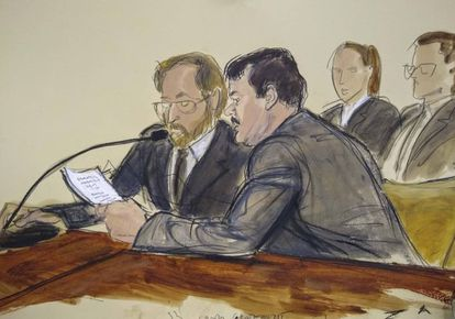 El Chapo, na quarta-feira passada, durante a leitura da sua sentença no Brooklyn.
