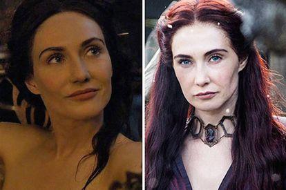 Se tirasse o colar, Melisandre morria. Como se vê à esquerda, não era bem assim.