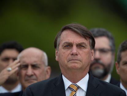 O presidente Jair Bolsonaro durante cerimônia no palácio do Planalto