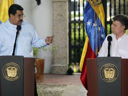 Maduro e Santos na Colômbia, no início do mês.