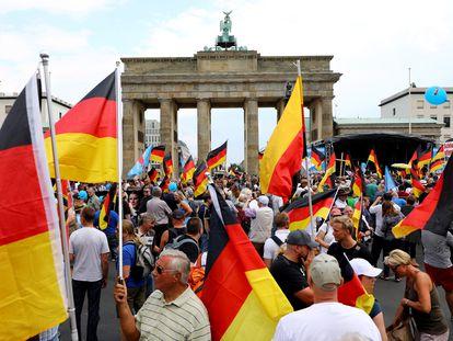 Comício do partido ultradireitista alemão Alternativa para a Alemanha (AfD) em Berlim, em 2018.