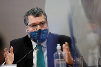 O ex-presidente Ernesto Araújo, em depoimento à CPI da Pandemia.
