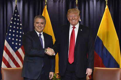O presidente colombiano, Iván Duque, e o norte-americano, Donald Trump.