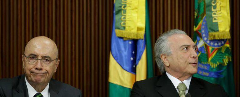 O ministro da Fazenda, Henrique Meirelles, e o presidente interino, Michel Temer.