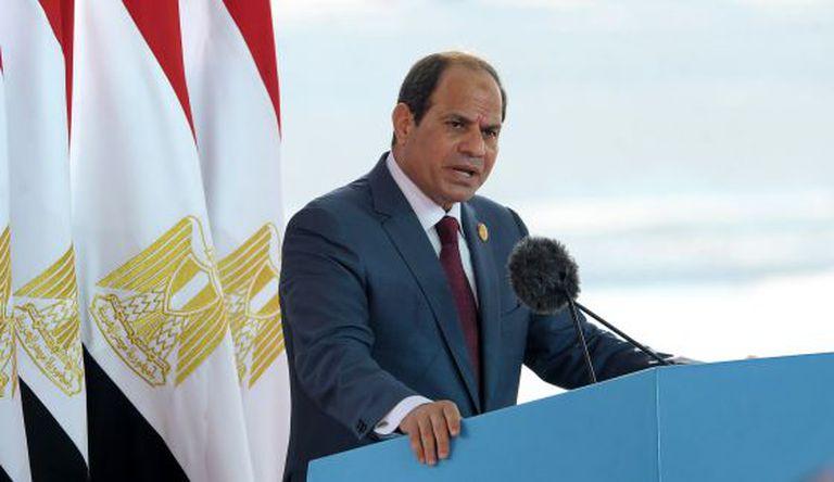 Al Sisi, presidente egípcio, na inauguração do Canal de Suez, em agosto.