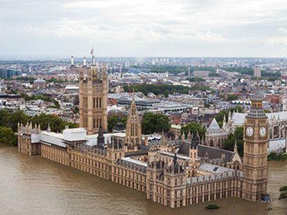 Montagem de como ficará Londres em 2100.