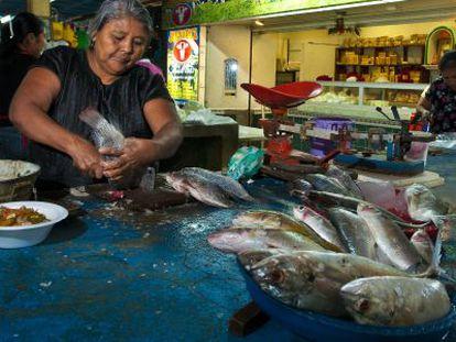 Moradora de Juchitán de Zaragoza (México) manipula peixe em um mercado.