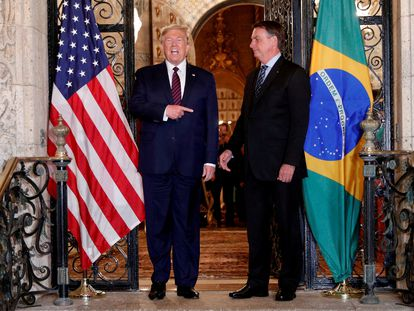 Os presidentes Trump e Bolsonaro em encontro em março de 2020, na Flórida.