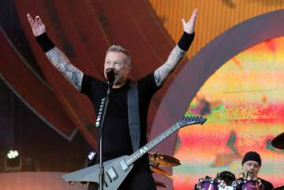 James Hetfield, vocalista do Metallica, durante um concerto no Global Citizen Festival, no Central Park (Nova York) em setembro