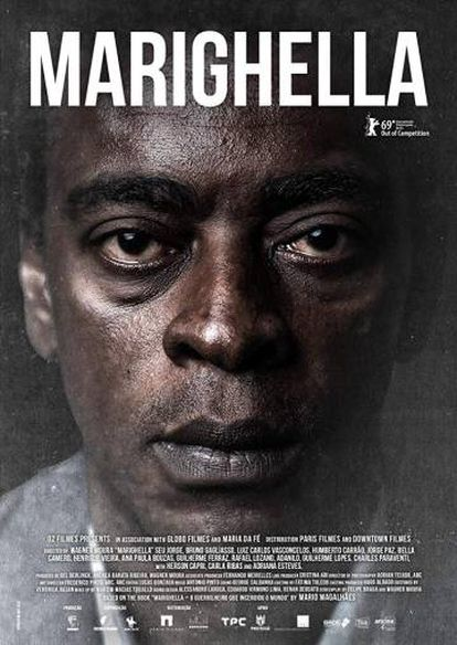 Cartaz do filme 'Marighella', protagonizado por Seu Jorge, lançado no Festival de Berlim 2019.