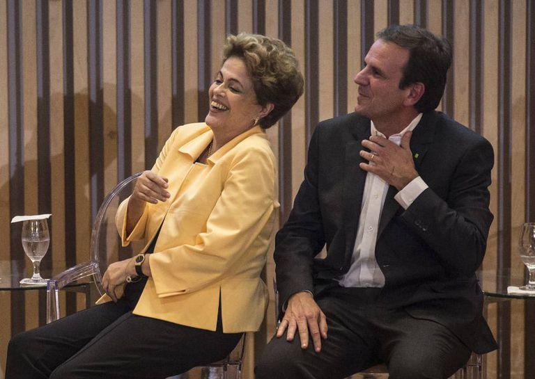Dilma e Eduardo Paes na inauguração do Museu do Amanhã, no Rio, nesta quinta-feira.