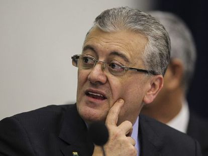 O presidente da Petrobras, Aldemir Bendine, nesta quarta-feira durante a apresentação dos resultados financeiros auditados de 2014.